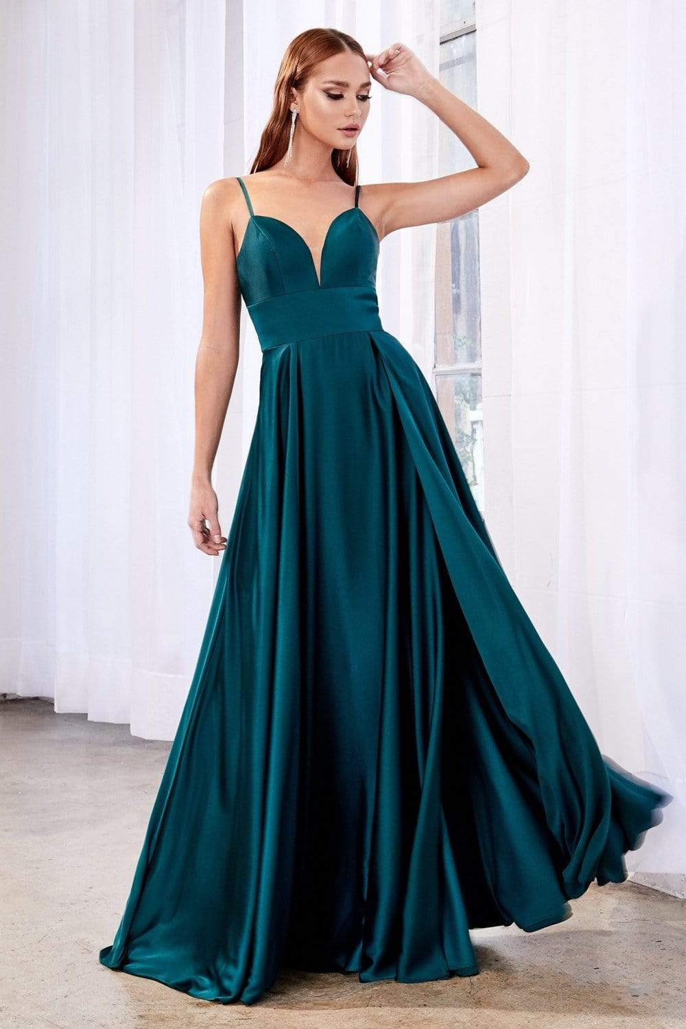 Cinderella Divine - CJ526SC Plunging Neck Satin Gown