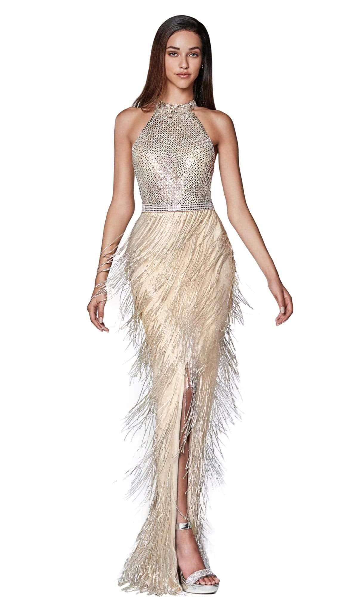 Cinderella Divine - CK820 Geo-Beaded High Halter Fringed Gown In Neutral