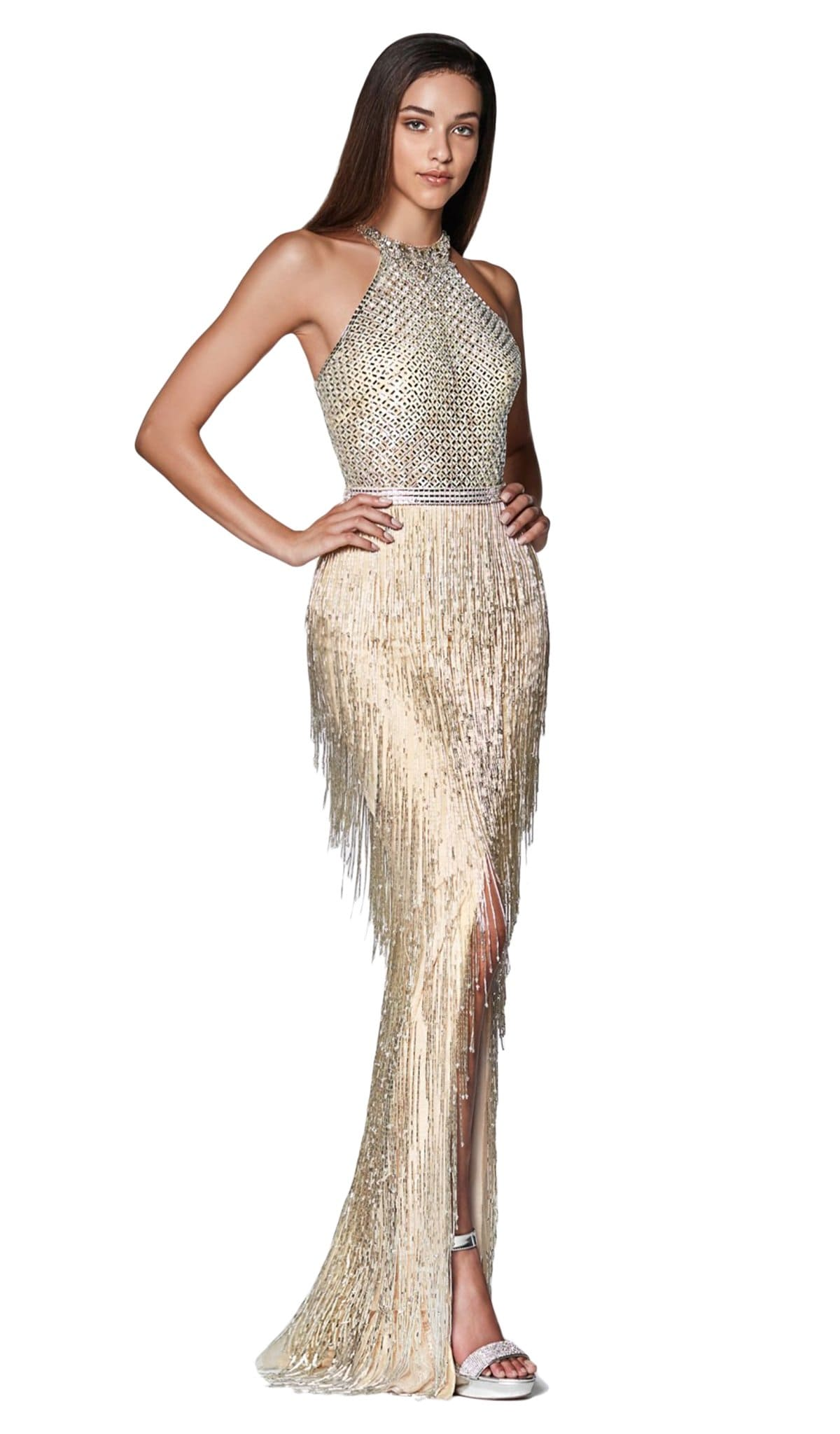 Cinderella Divine - CK820 Geo-Beaded High Halter Fringed Gown Special Occasion Dress