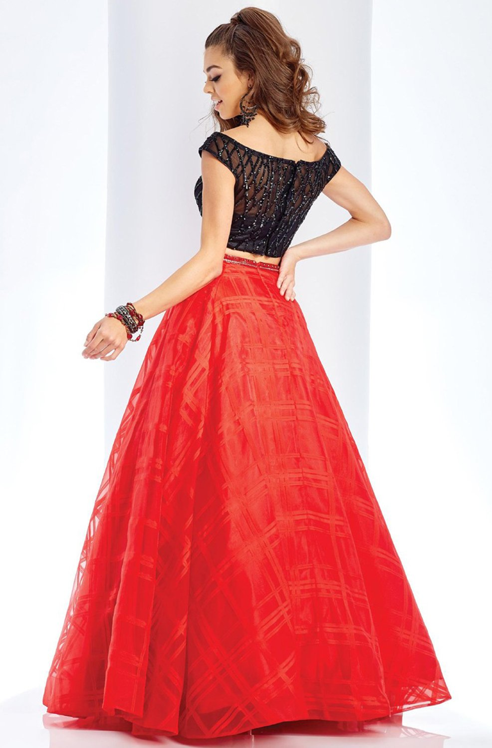 Clarisse - Two Piece Beaded Bodice Plaid Organza Dress 3580SC