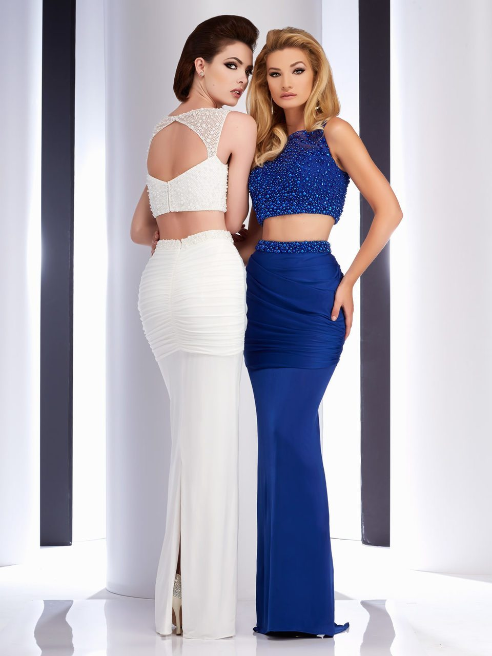 Clarisse - 4729 Beaded Halter Sheath Dress in White and Blue