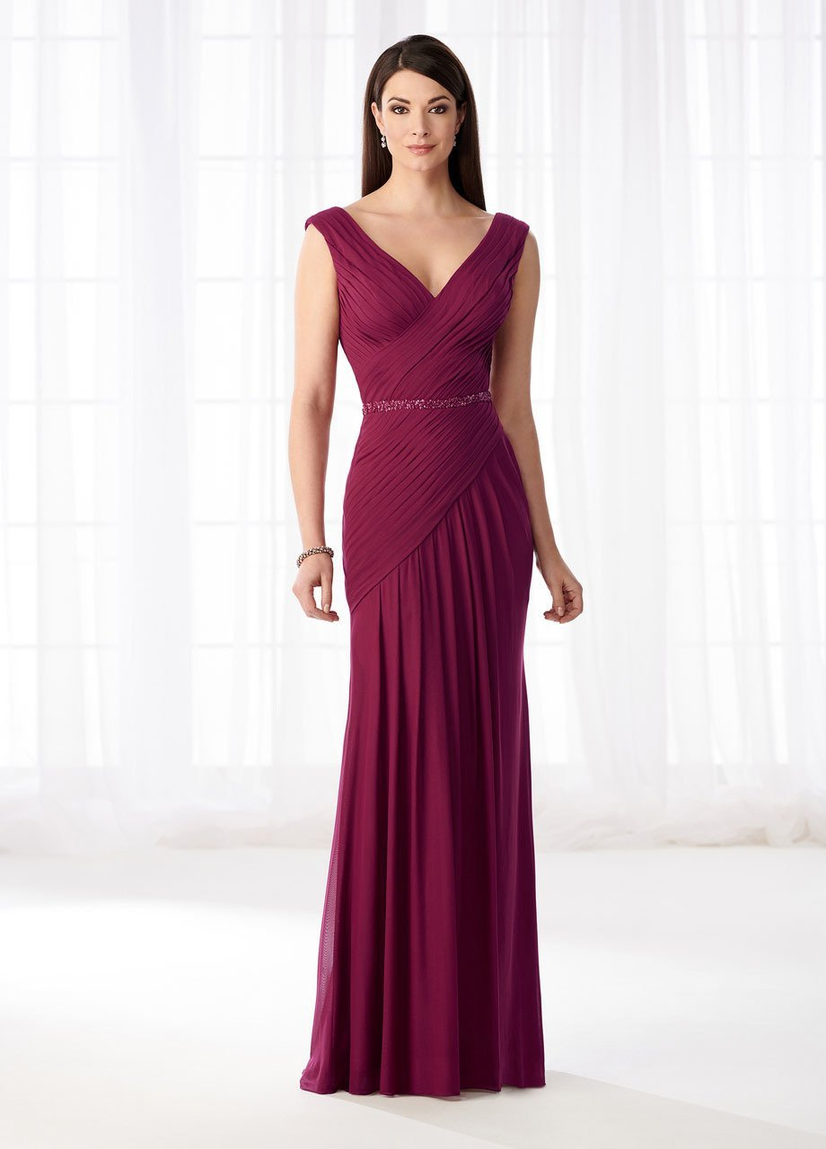 Mon Cheri Stretch Mesh Pleated V-Neckline Formal Gown 218603 - 1 pc Raspberry In Size 18 Available In Raspberry