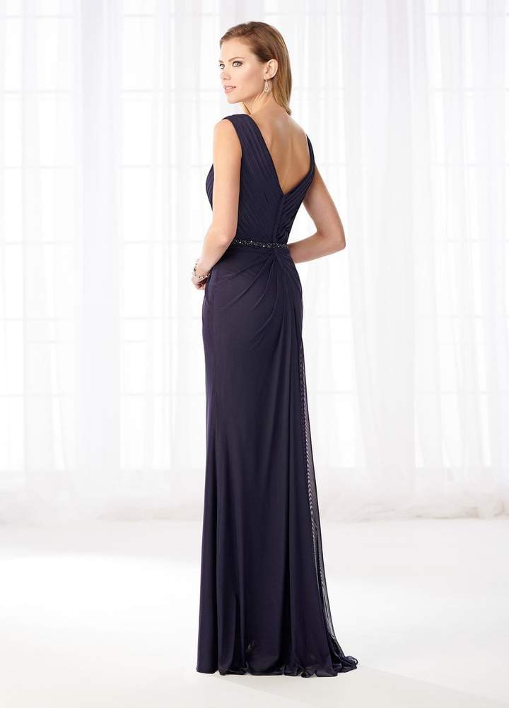 Mon Cheri - 218603SC Pleated V-Nec Embellished Sheath Gown
