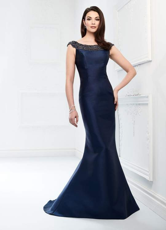 Mon Cheri - Beaded Bateau Trumpet Evening Gown 218920 In Blue