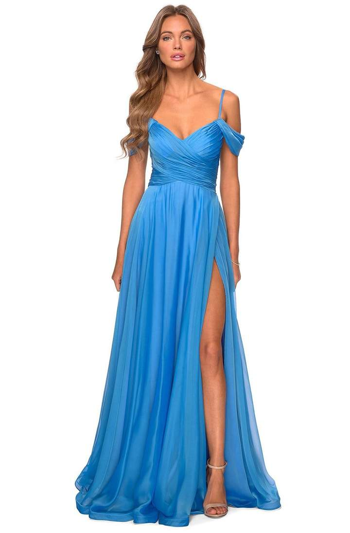 La Femme - 28942SC Ruched Cold Shoulder A-Line Evening Dress