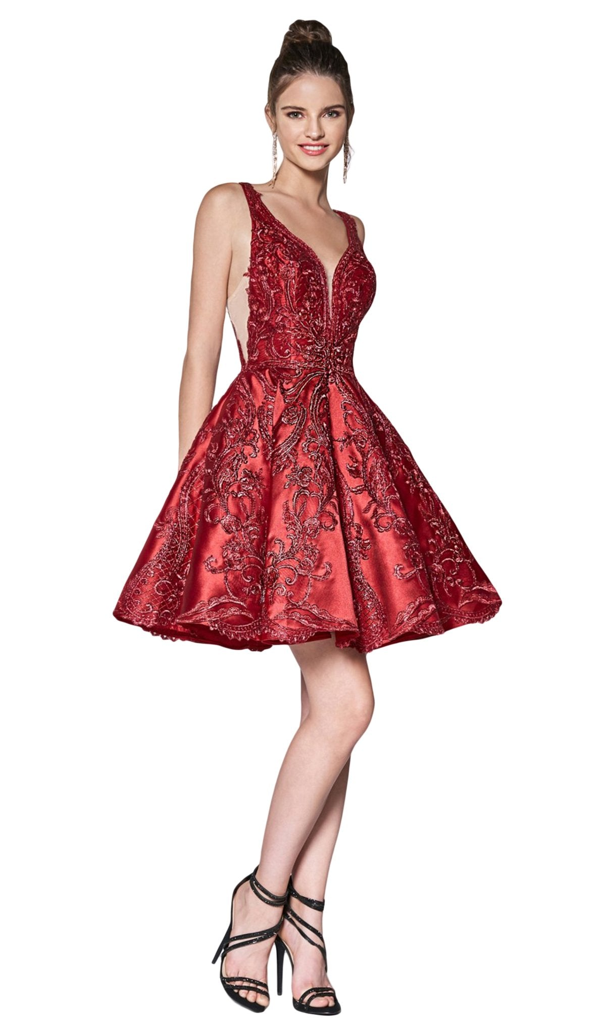 Cinderella Divine - CM302 Embroidered Plunging Sweetheart A-Line Dress In Red