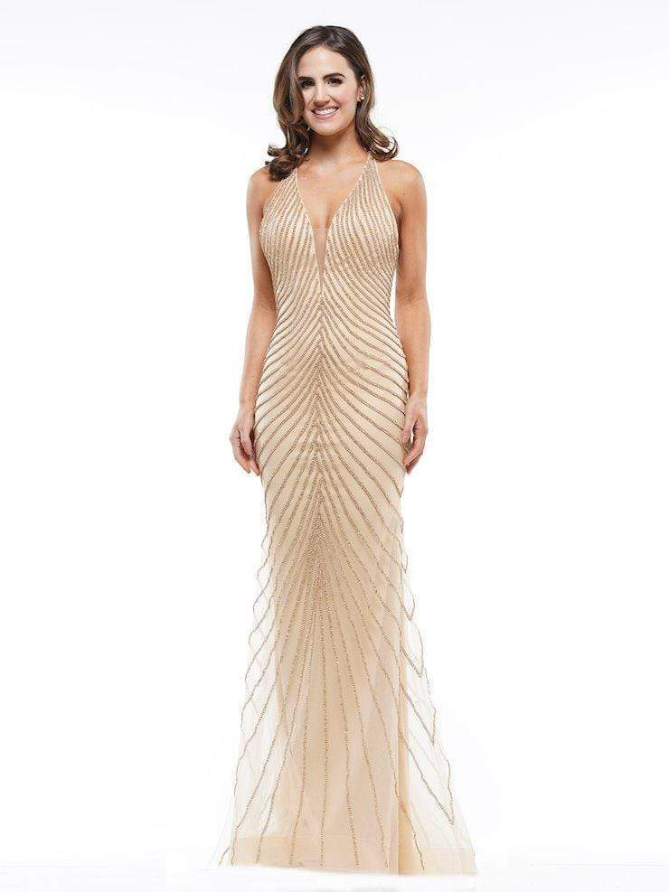 Colors Dress - J105 Beaded Deep V-neck Trumpet Dress Evening Dresses 0 / Nude/Gold