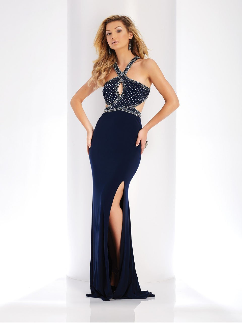 Clarisse - 3512 Embellished Halter Cutout Sheath Dress in Blue