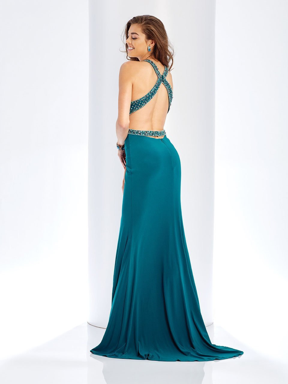 Clarisse - 3512 Embellished Halter Cutout Sheath Dress in Green