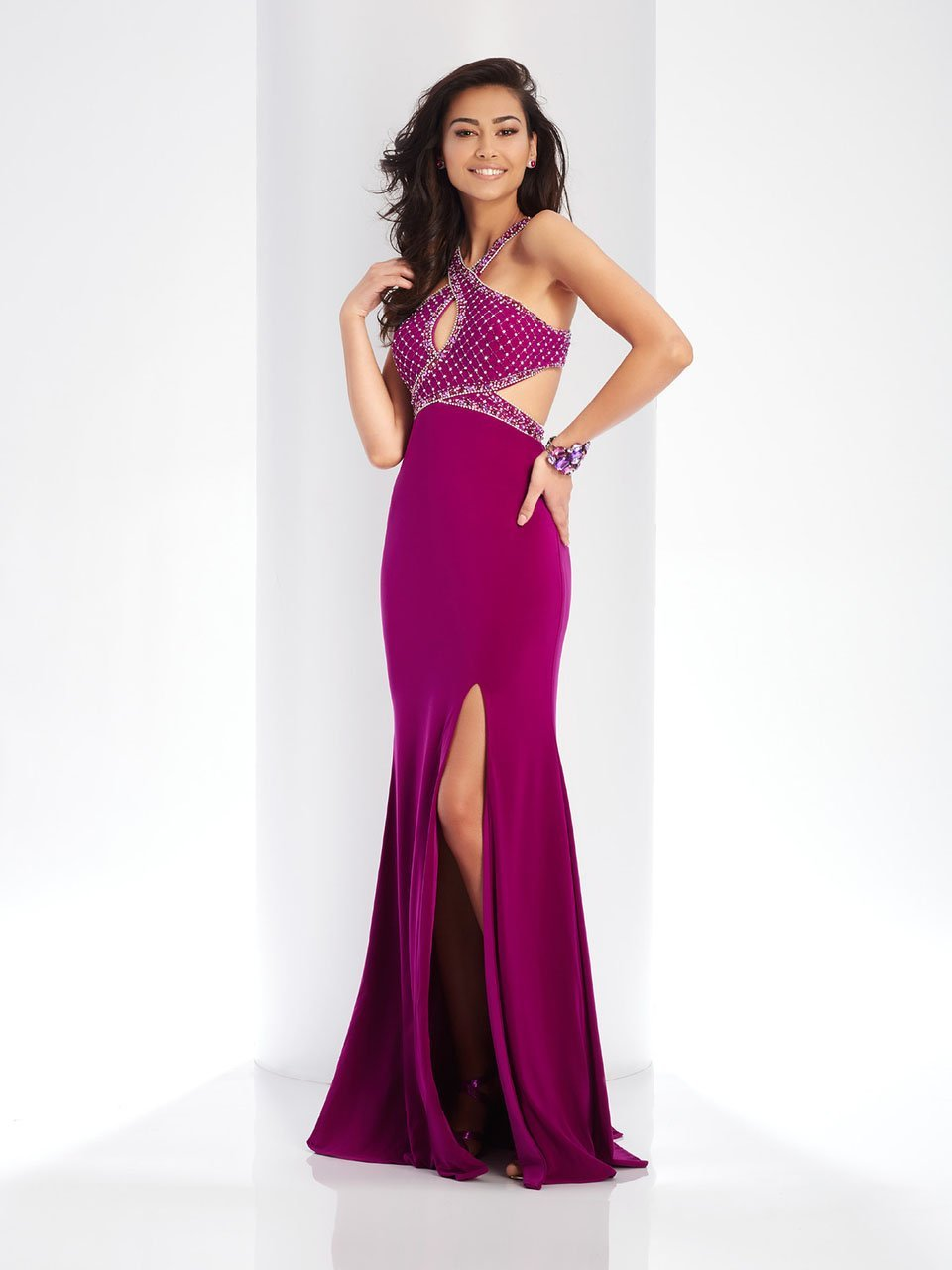 Clarisse - 3512 Embellished Halter Cutout Sheath Dress in Purple