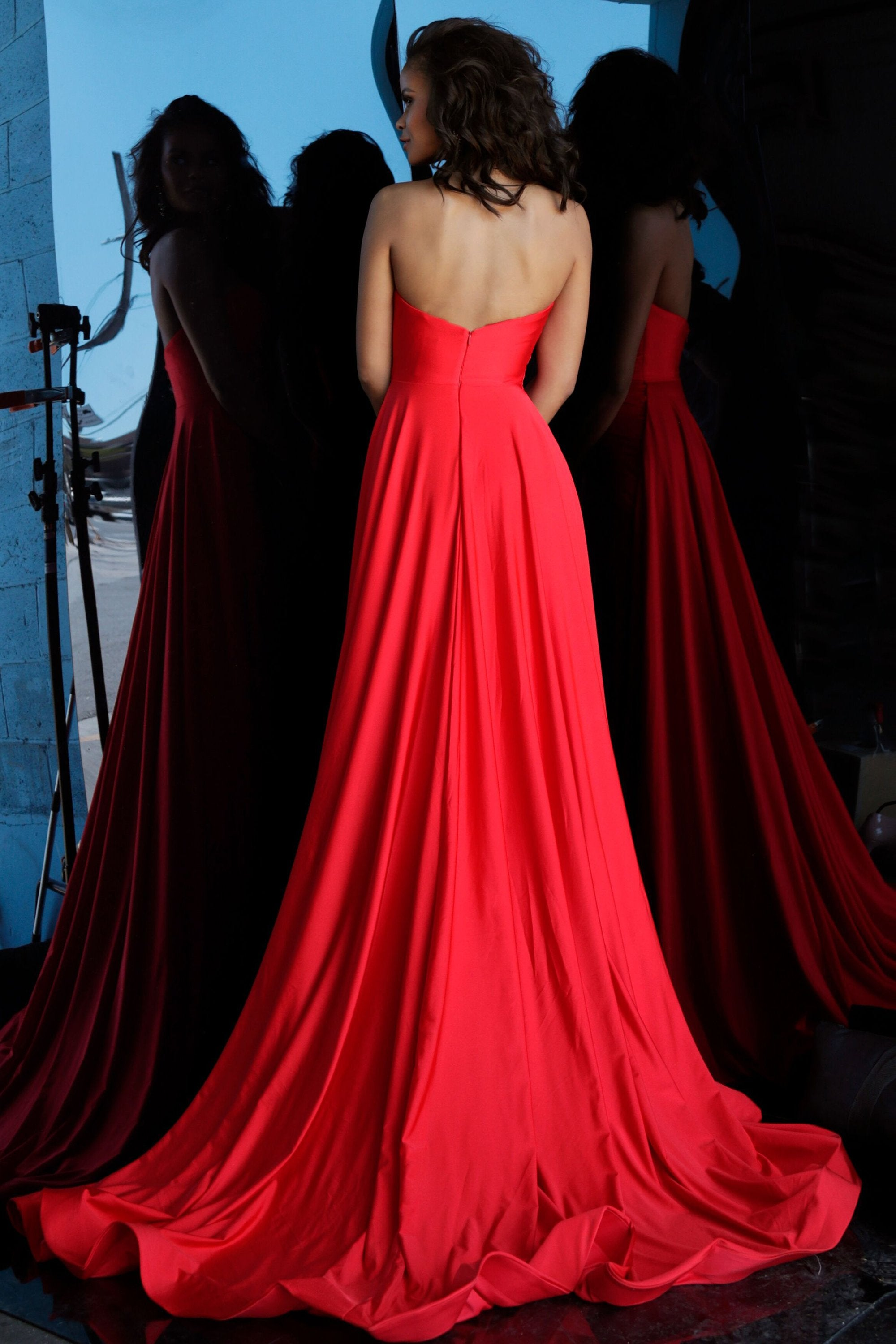 Jovani - 68641 Strapless Ruched Dress With Overskirt and Train In Red