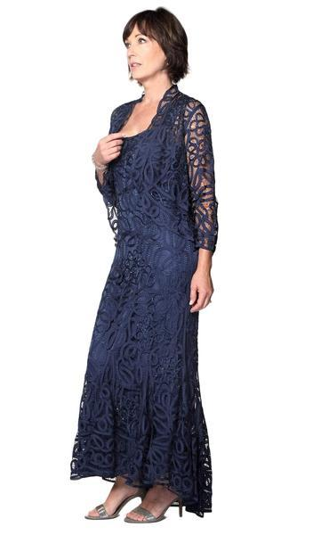 Soulmates - High-low dress and Jacket Set D9120 In Blue