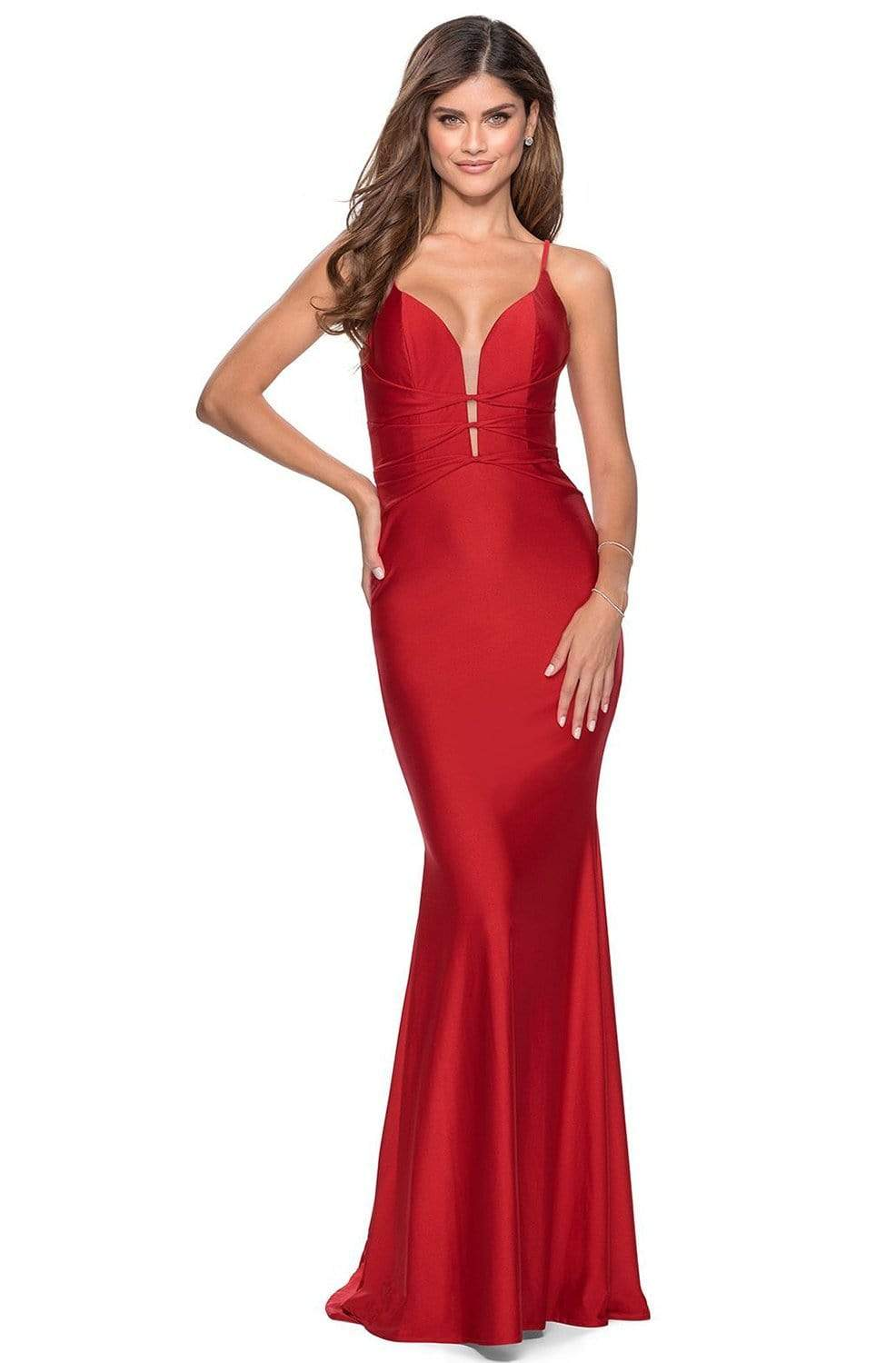 La Femme - Strappy Plunging V-neck Jersey Trumpet Dress 28574SC - 2 pc Red In Size 10 Available CCSALE 10 / Red