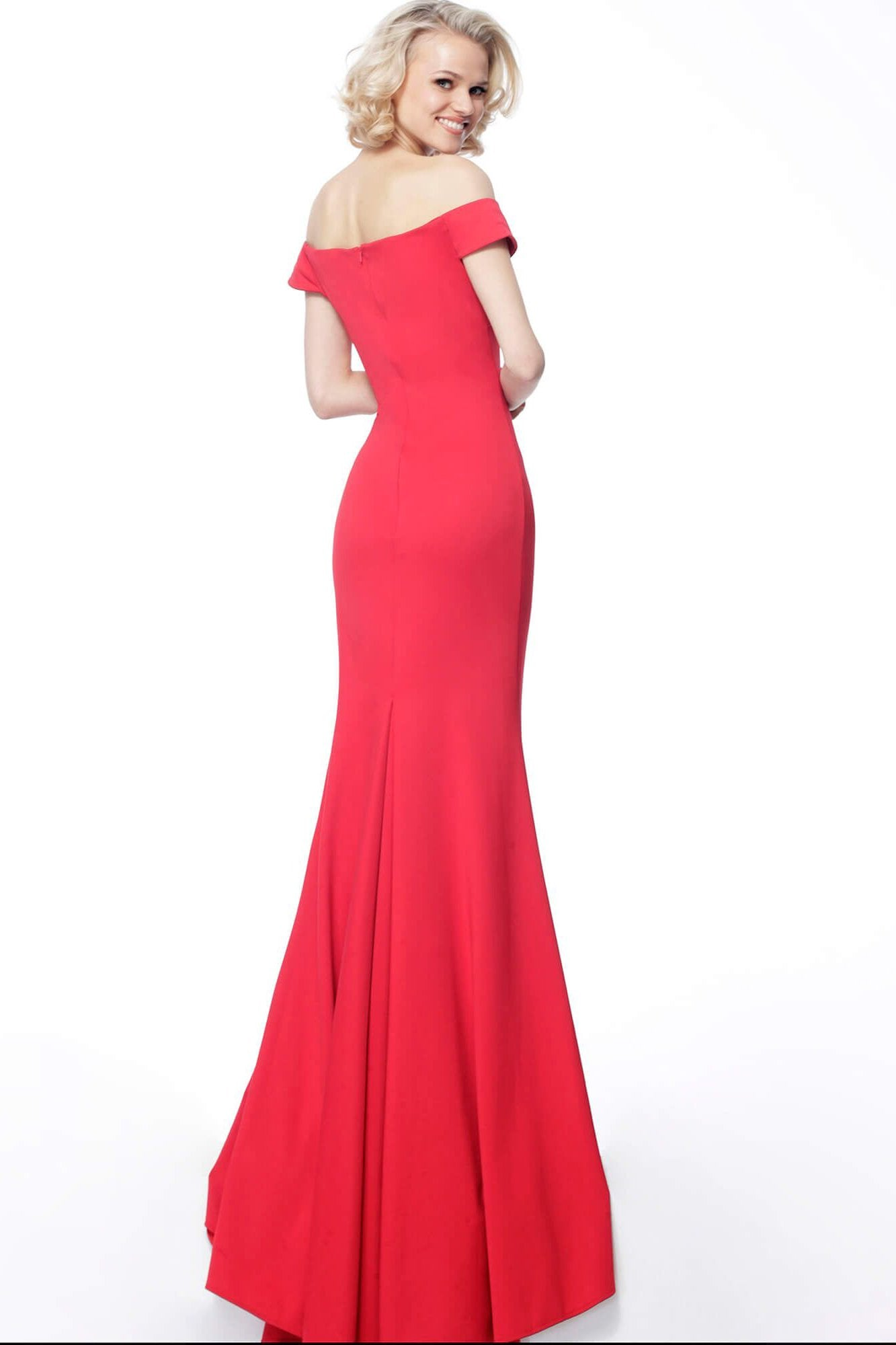 Jovani - 68768 Plunging Off-shoulder Trumpet Dress In Red