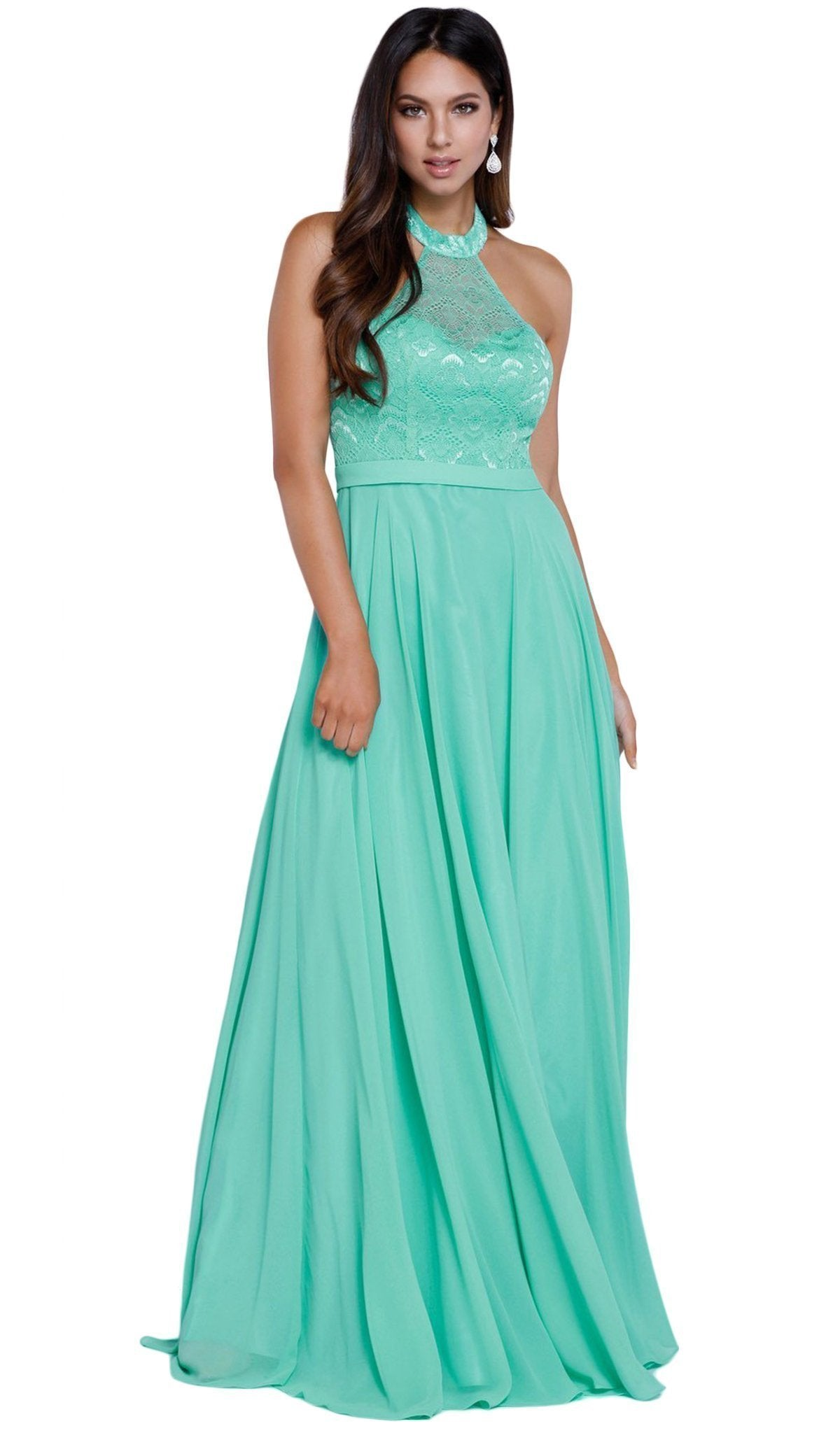 Nox Anabel - Lace Halter Neck Long Evening Gown 8233SC