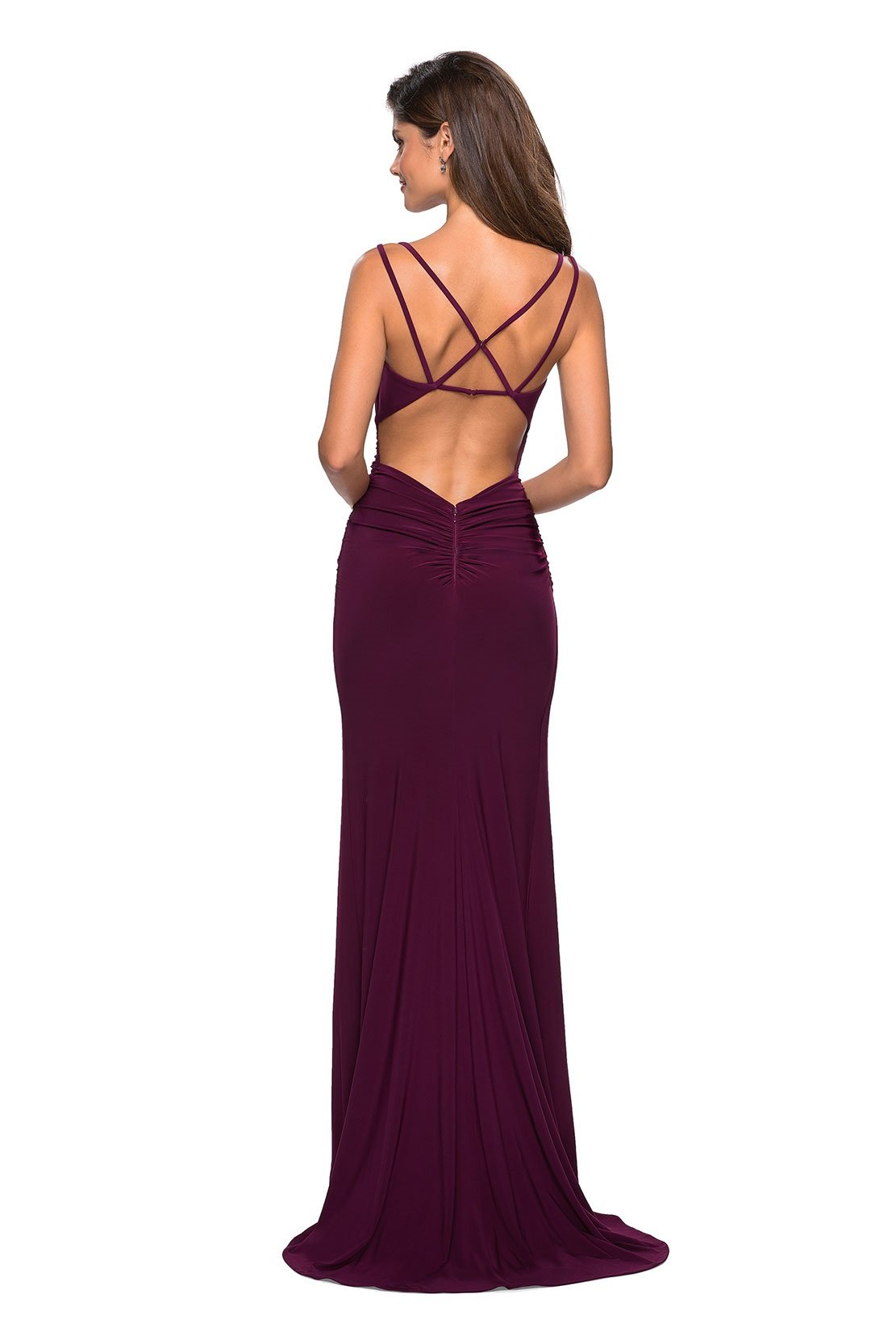 La Femme - Plunging Sweetheart Ruched High Slit Gown 27564 In Purple and Red