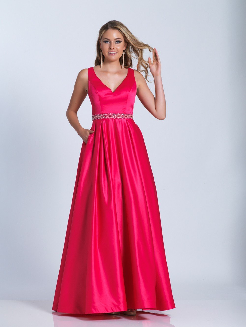 Dave & Johnny - Sleeveless Embellished Waist A-Line Gown 3530  in Pink