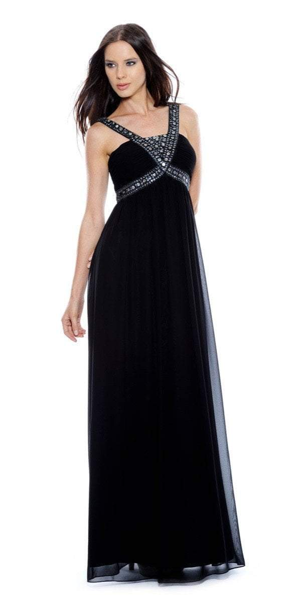 Decode 1.8 - 180467 Metallic Studded Silk Chiffon A-Line Gown in Black