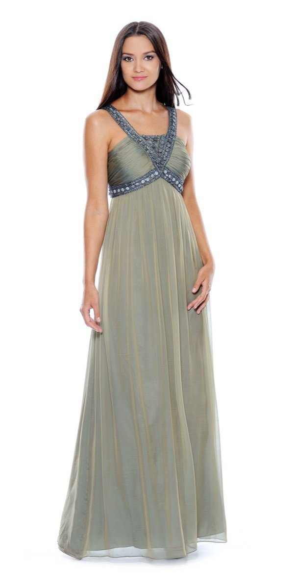Decode 1.8 - 180467 Metallic Studded Silk Chiffon A-Line Gown in Green