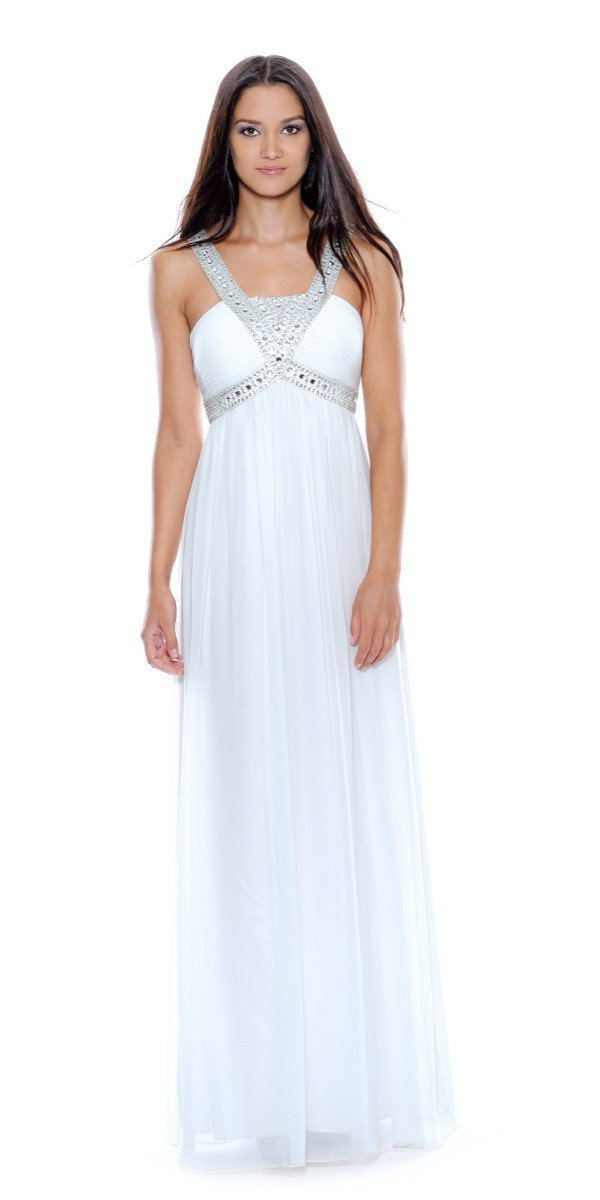 Decode 1.8 - 180467 Metallic Studded Silk Chiffon A-Line Gown in White and Silver