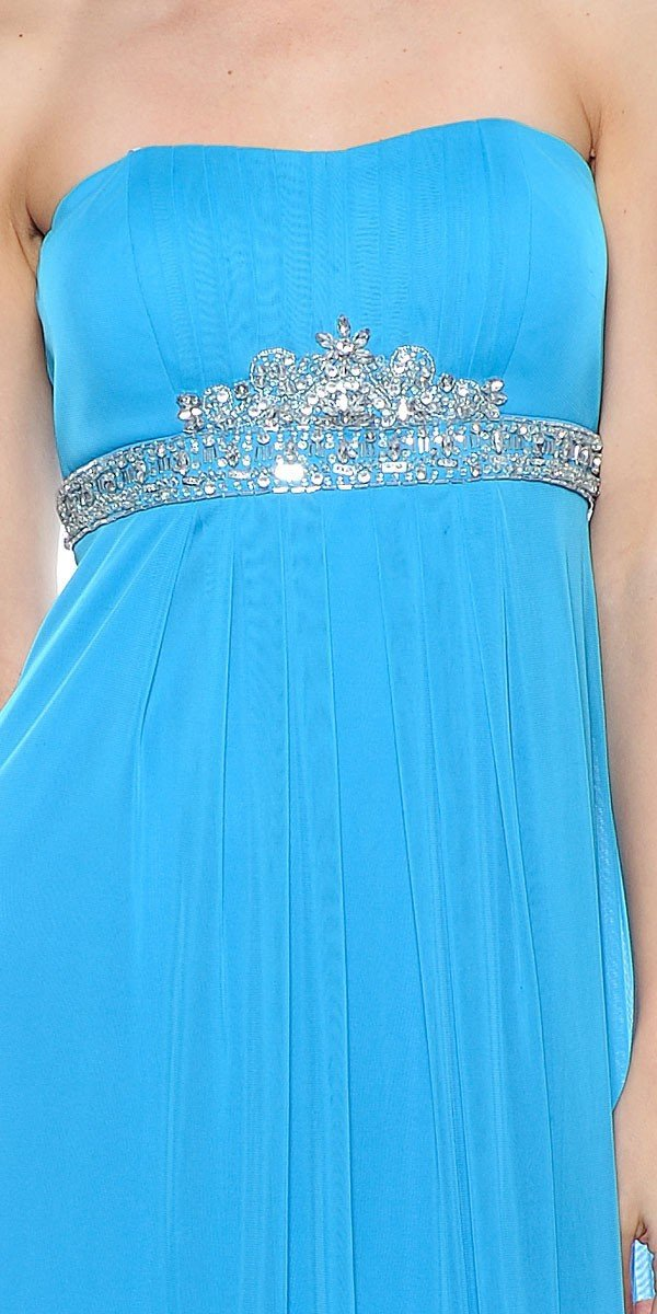Decode 1.8 - 181511 Bead Embellished Empire Waist Sheath Dress in Blue