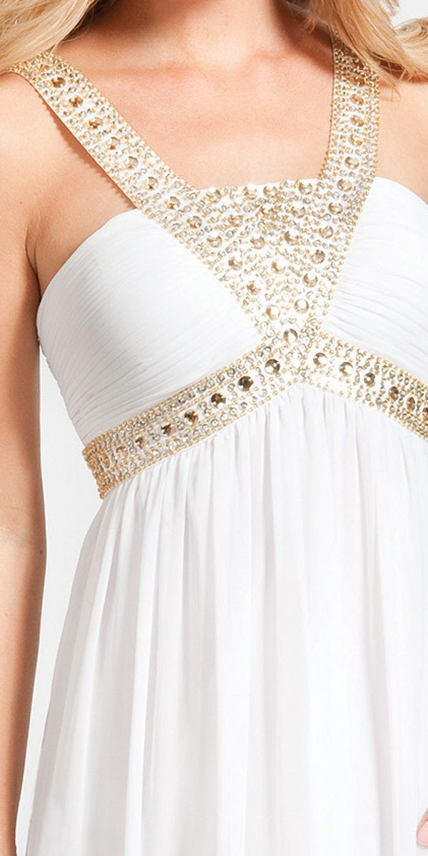 Decode 1.8 - 180467 Metallic Studded Silk Chiffon A-Line Gown in White and Gold