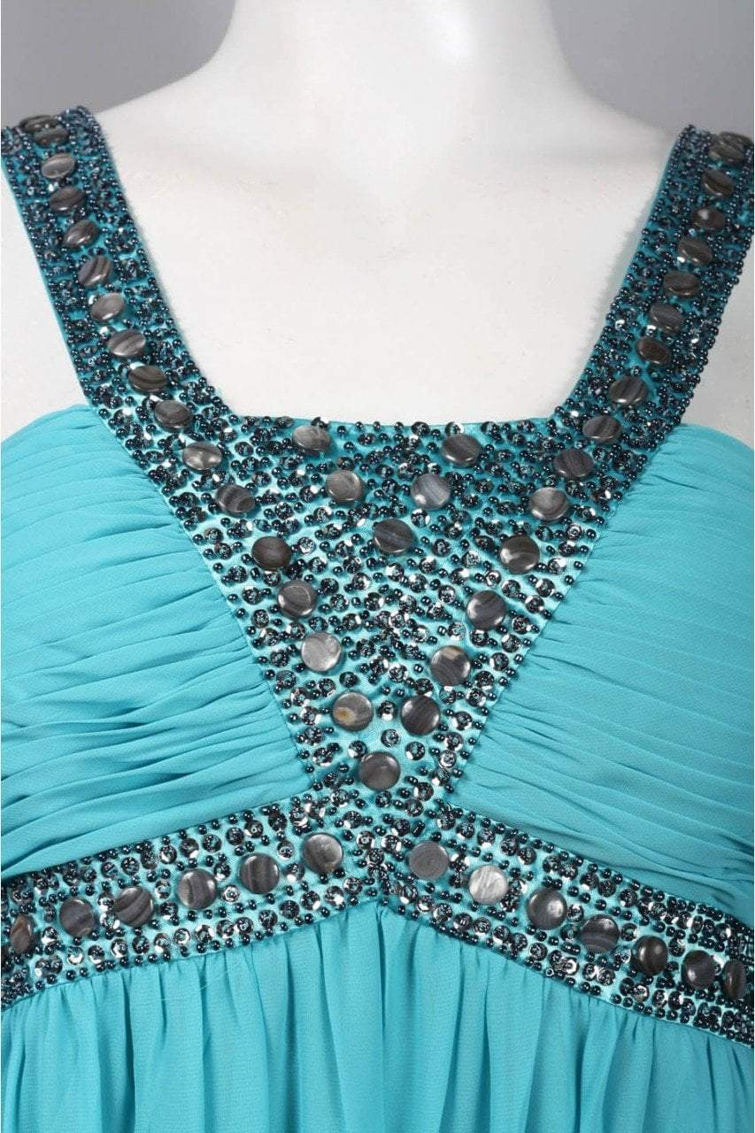 Decode 1.8 - 180467 Metallic Studded Silk Chiffon A-Line Gown in Blue