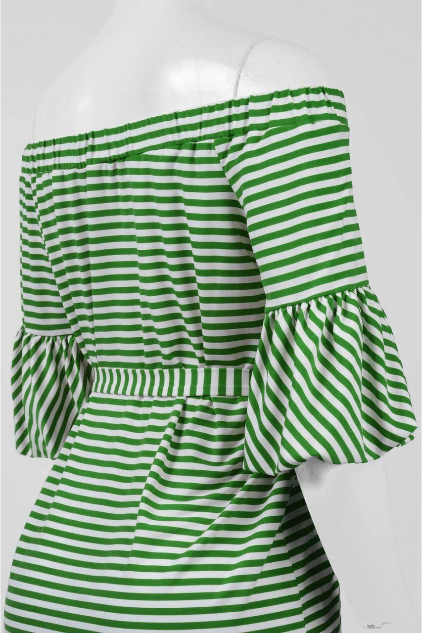 Donna Morgan - D5259M Striped Off Shoulder Bell Sleeve Dress in Red and White in Green and White