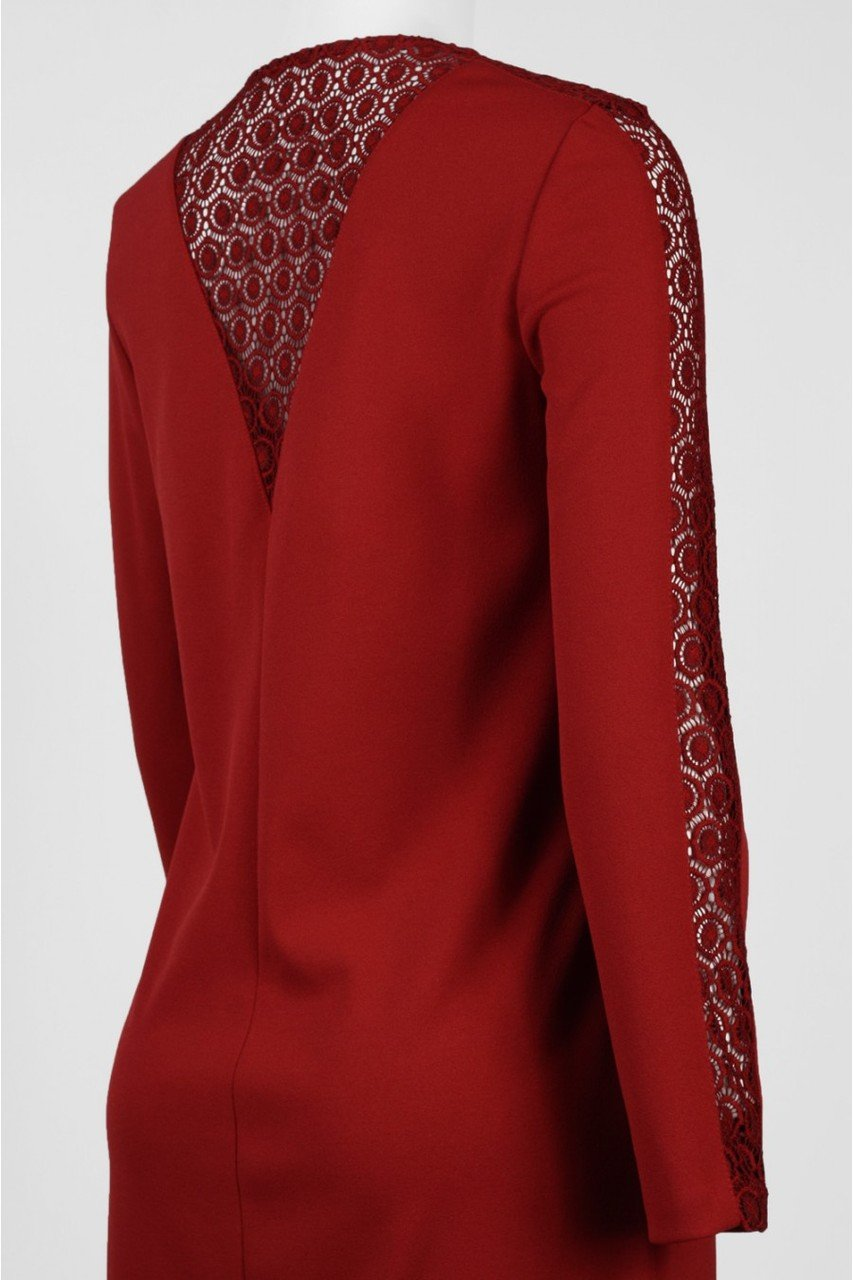 Donna Ricco - DR20534 Embroidered Long Sleeve Sheath Dress in Red