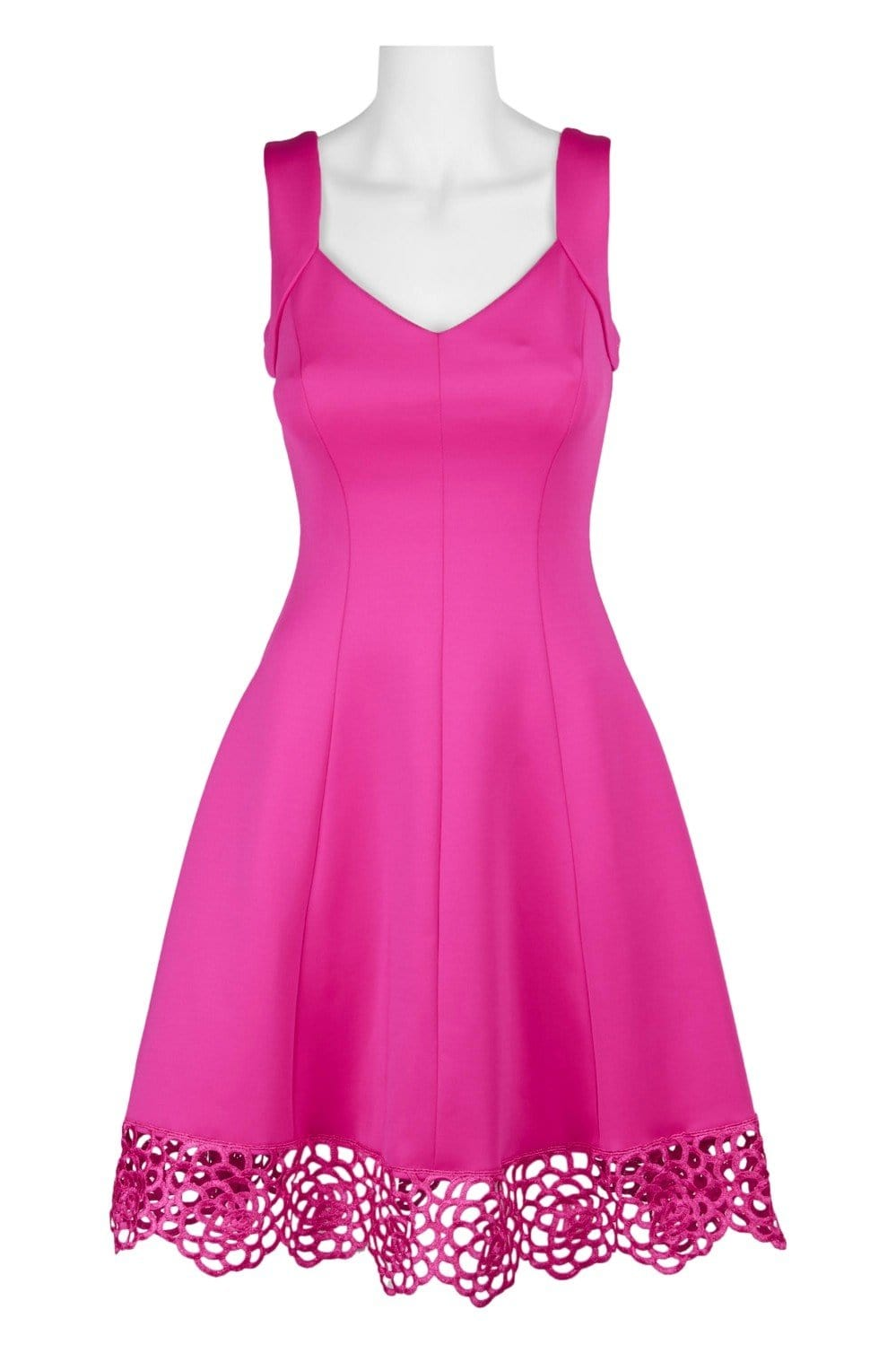 Donna Ricco - DR50624 Sleeveless V Neck Woven lace Hem A-line Dress In Pink