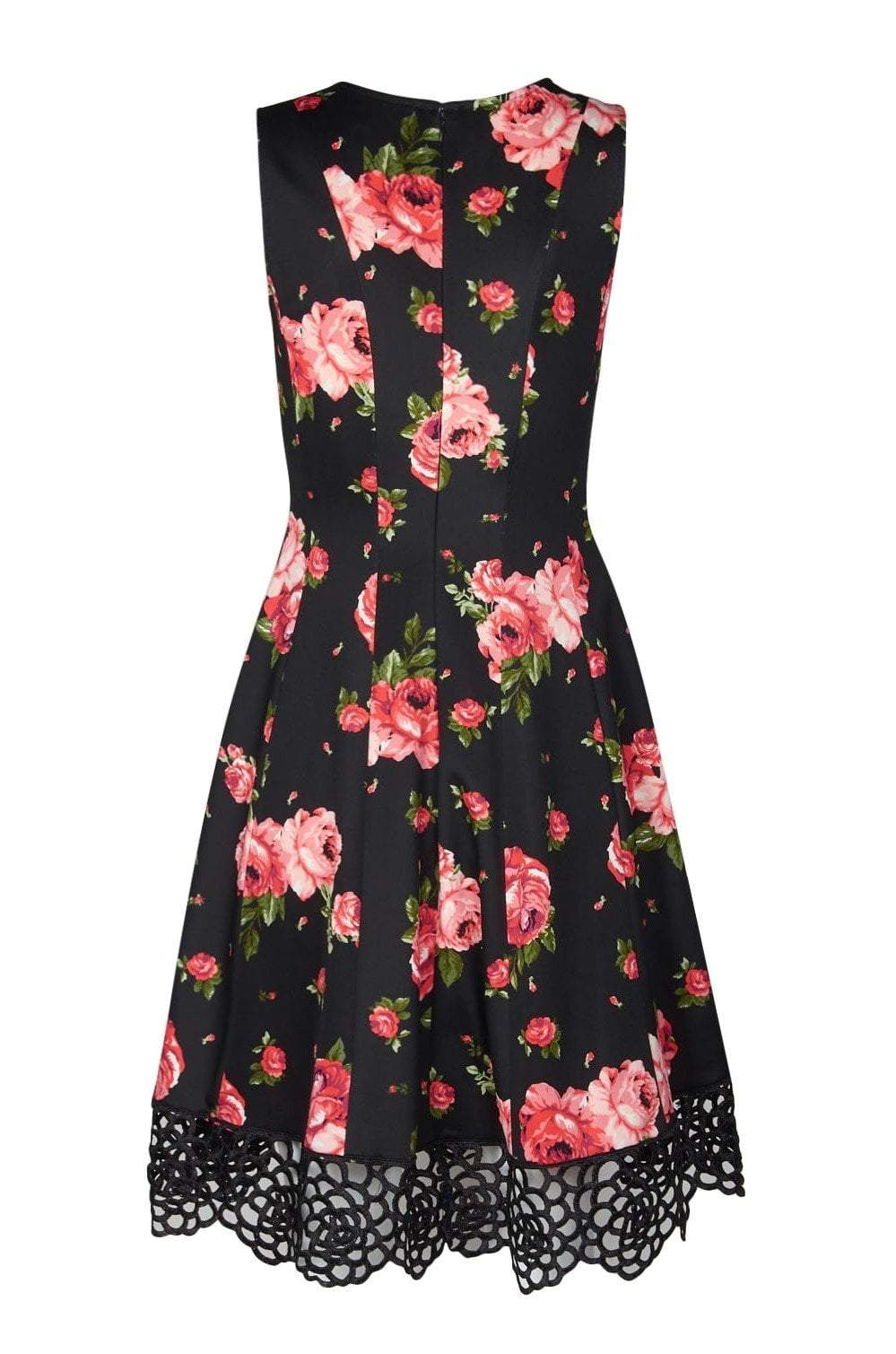 Donna Ricco - DR50925 Floral Printed V-neck Scuba A-line Dress In Black and Red