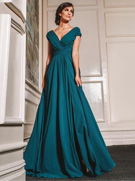 Marsoni by Colors - Gathered V Neck Off Shoulder A-Line Gown M251 In Green
