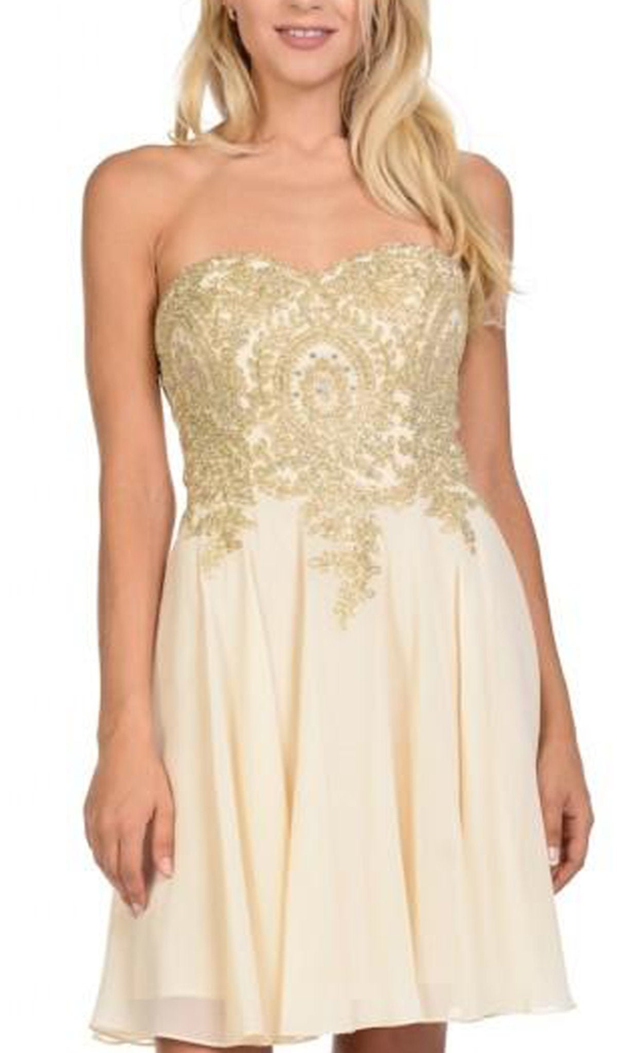 Lenovia - 8110SC Gold Applique Strapless Fit and Flare Cocktail Dress