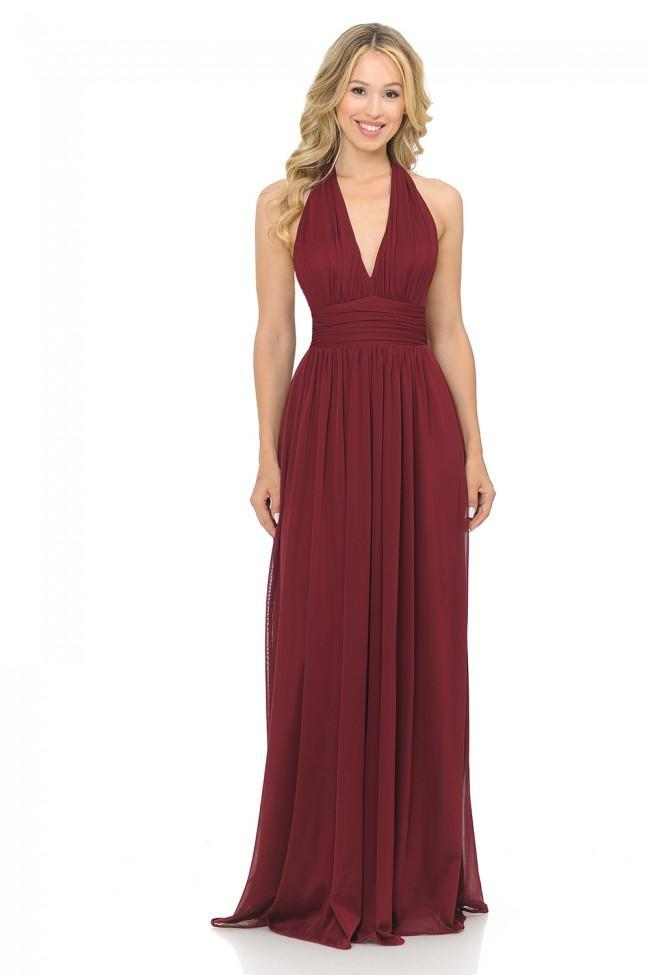 Lenovia - Shirr-Ornate Plunging Halter A-Line Dress 5202 In Red
