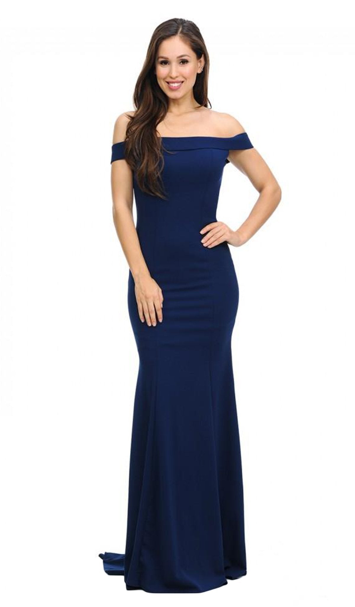 Lenovia - 5194SC Off The Shoulder Knit Crepe Mermaid Gown