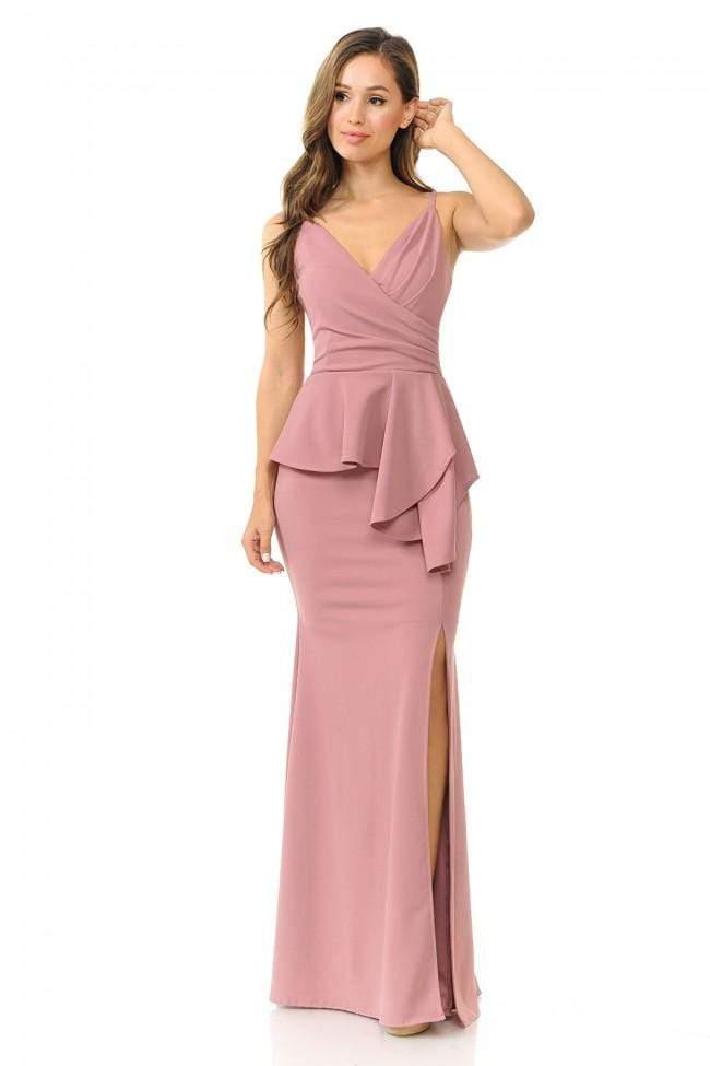 Lenovia - 5174SC V Neck Trumpet Dress with Peplum