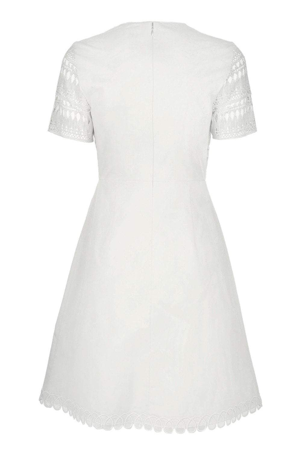 Elie Tahari - E303N607 Lace V-neck A-line Dress In White