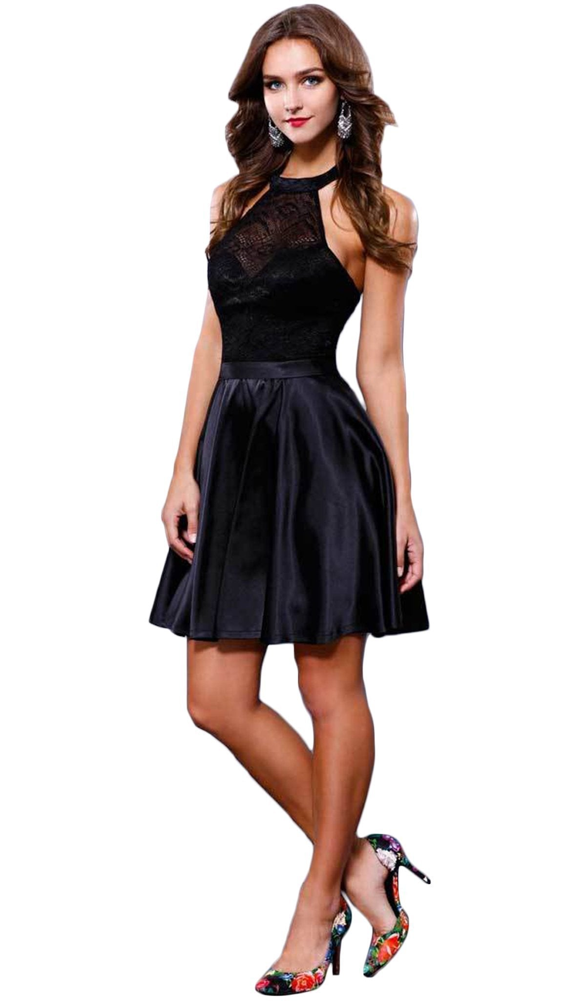 Nox Anabel - Lace Halter Short Prom Dress 6217SC