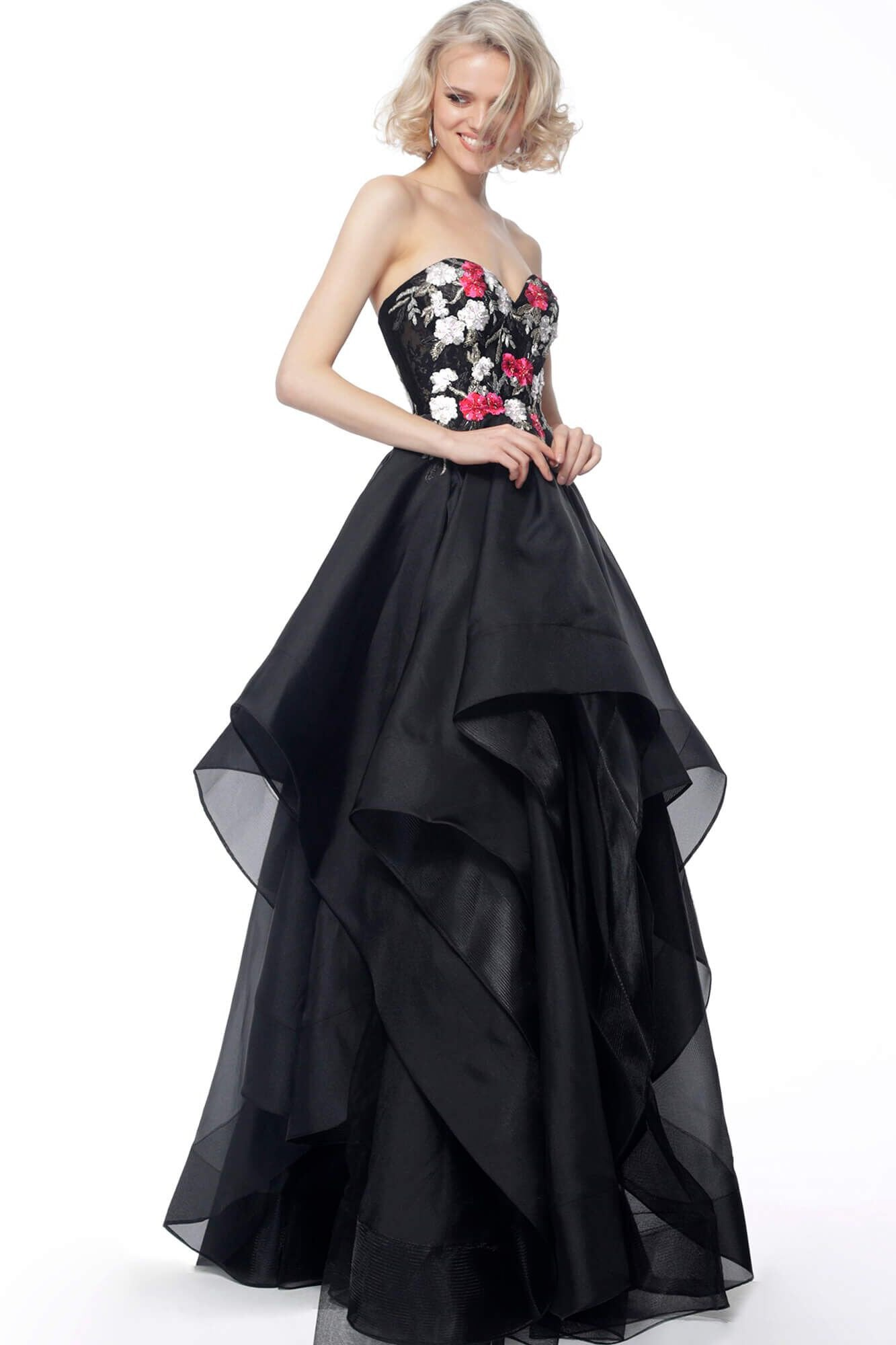 Jovani - 67206 Strapless Ruffled Skirt A-line Dress In Black and Multi