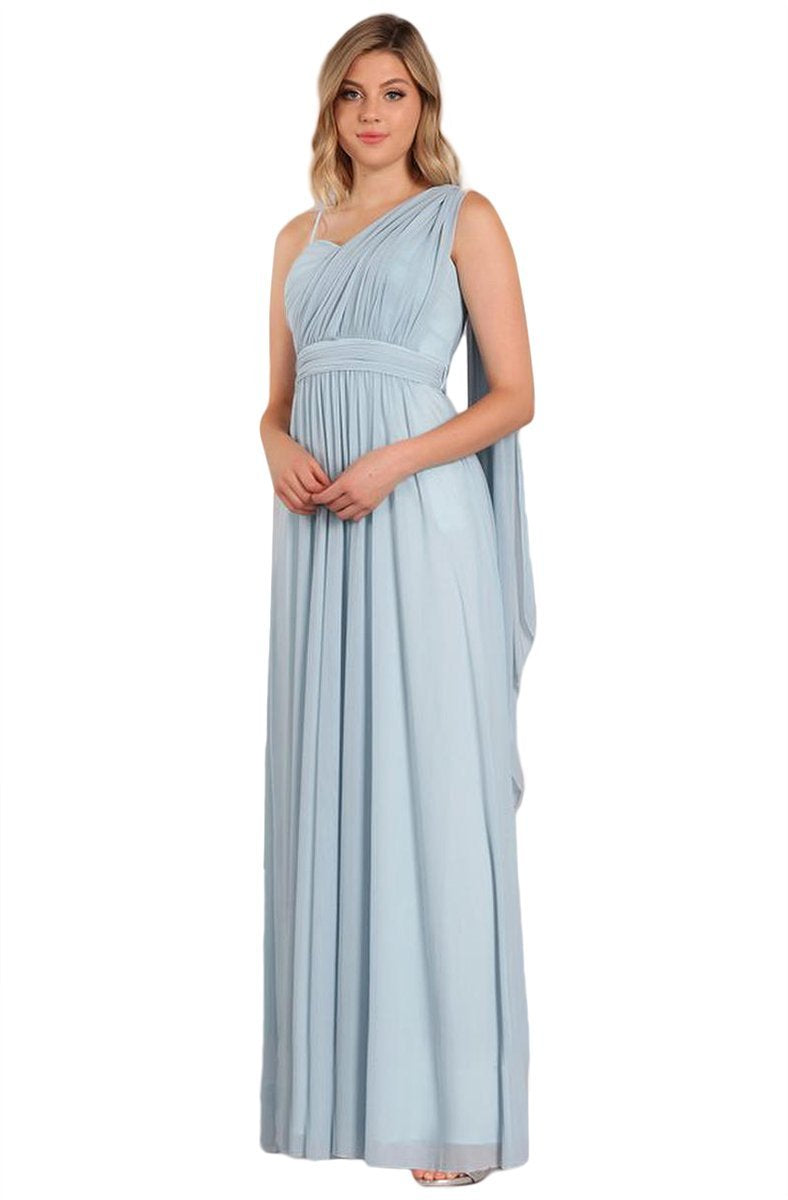 Eureka Fashion - Convertible Ruched A-line Evening Gown 9440 In Blue