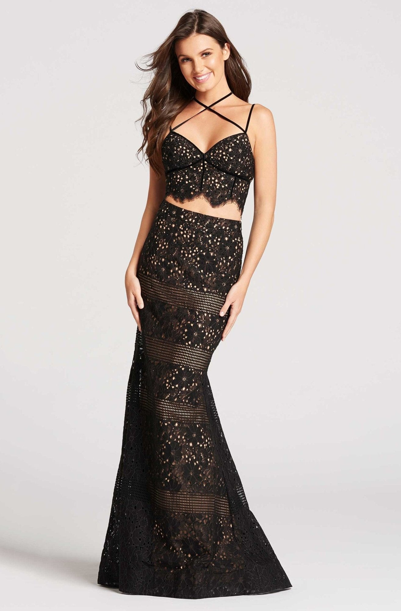 Ellie Wilde - Two Piece Crisscross Fitted Trumpet Gown EW118058 In Black and Neutral
