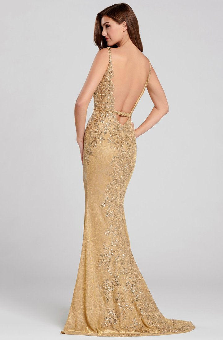 Ellie Wilde by Mon Cheri - Jersey Embroidered V-Neck Evening Dress EW120062 In Gold