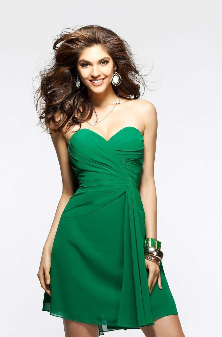Faviana - Strapless Sweetheart Chiffon Short Cocktail Dress 7075a in Green