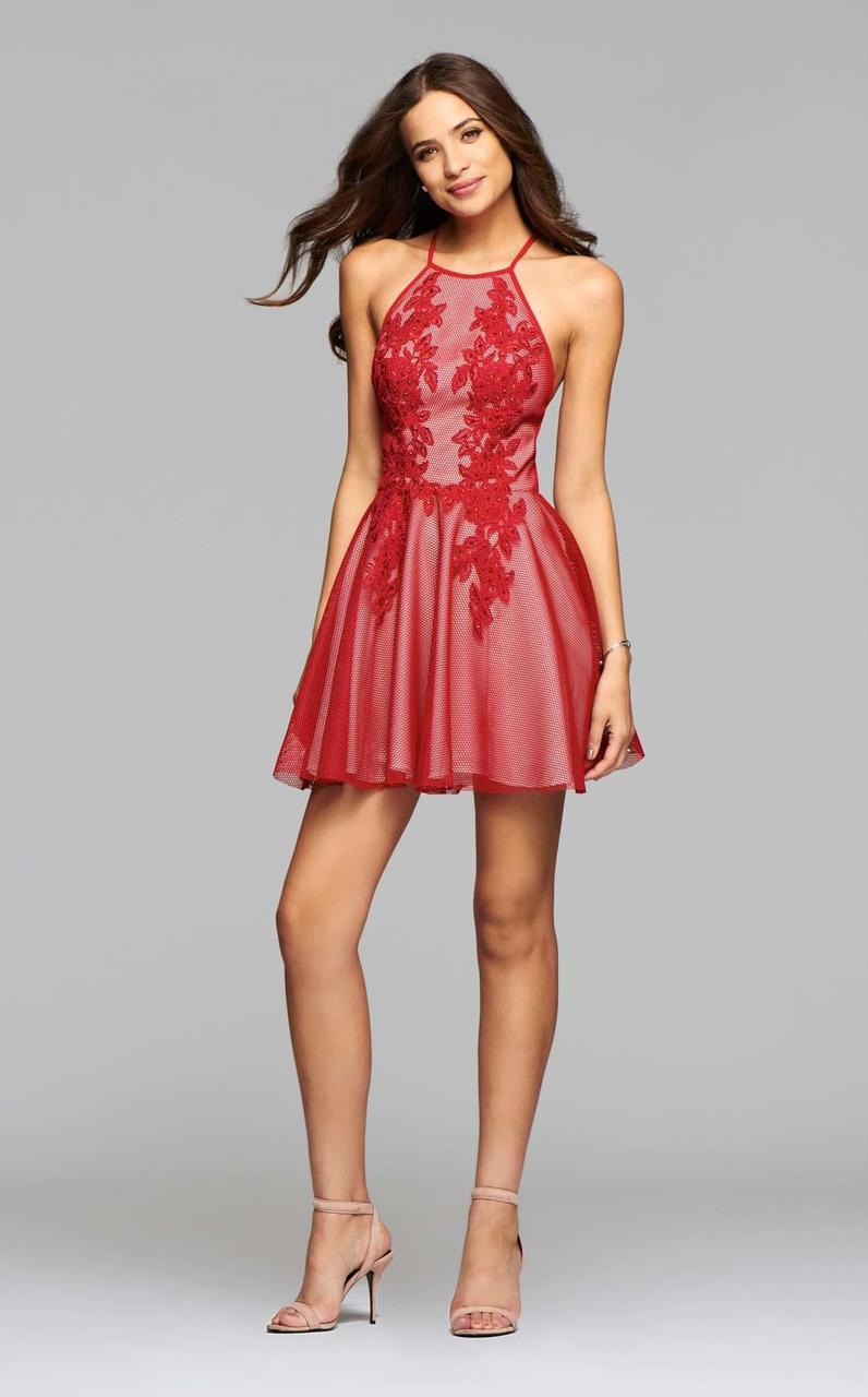 Faviana - 7874 Structured mesh halter cocktail dress with lace applique and full skirt in Red