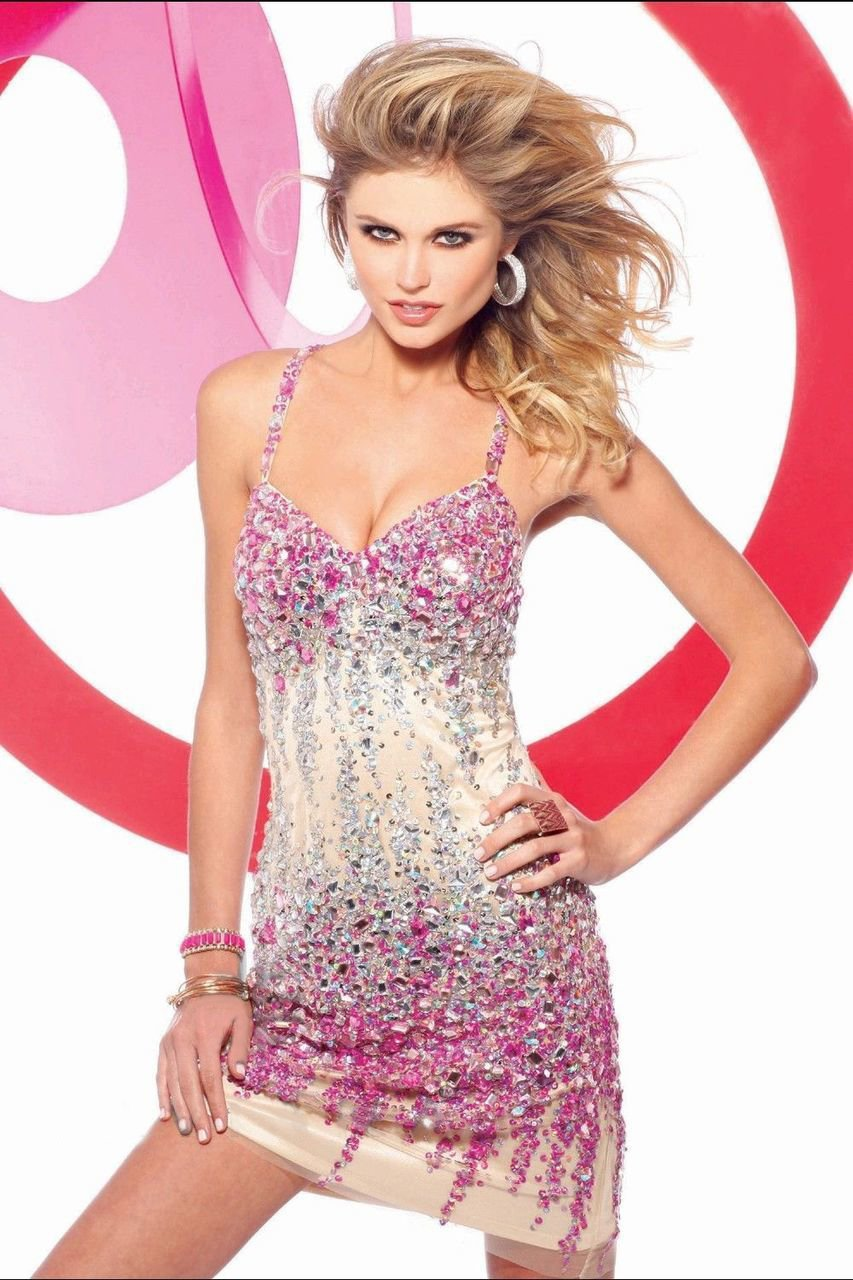 Faviana - s7157 Bedazzled V-neck Sheath Dress in Pink and Neutral