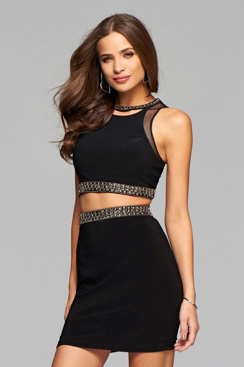 Faviana - s7866 Short Jersey Two-Piece Cocktail Dress with Beaded Trim and Lace-Up Back in Black