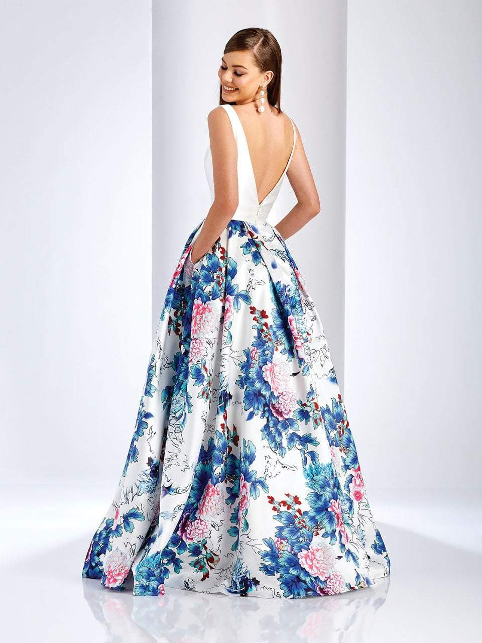 Clarisse - 3538 Deep V-Neck Floral Mikado Evening Gown in White and Print