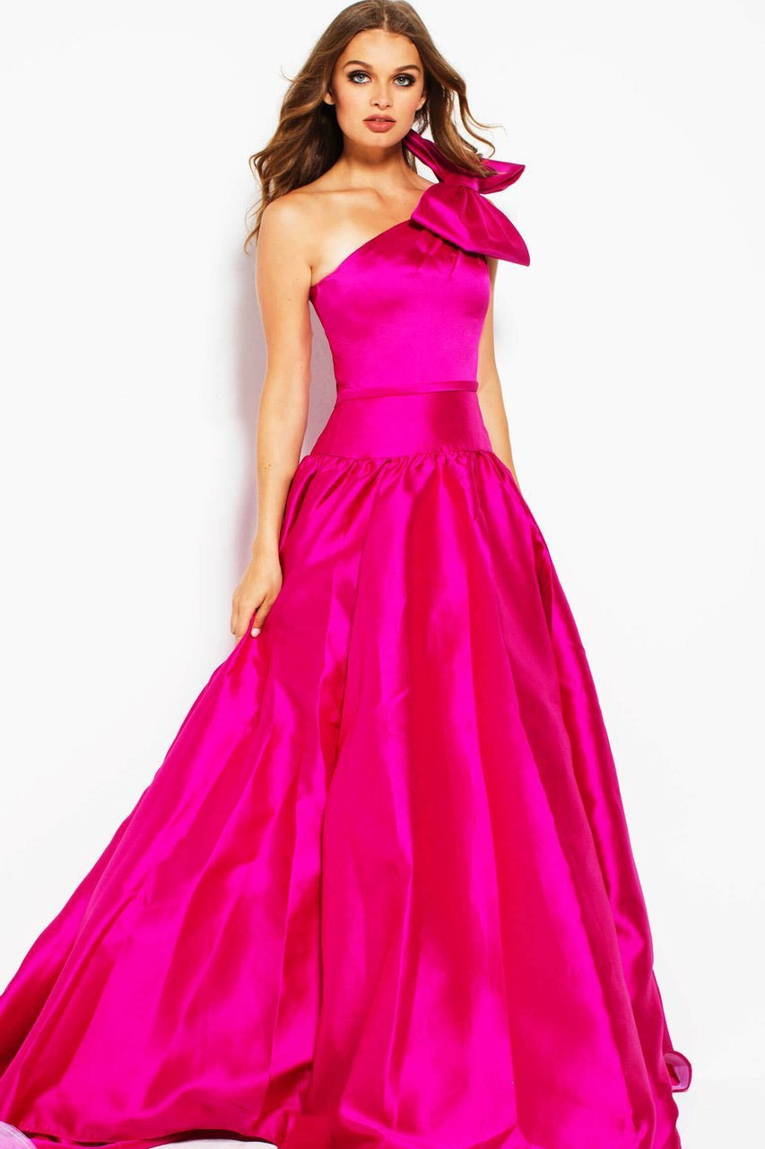 Jovani - 48897 Oversized Bow Ornate Asymmetrical Ballgown In Pink