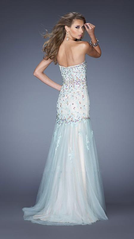 GiGi - Special Embellished Strapless Trumpet Dress 20220 In Blue and Nude