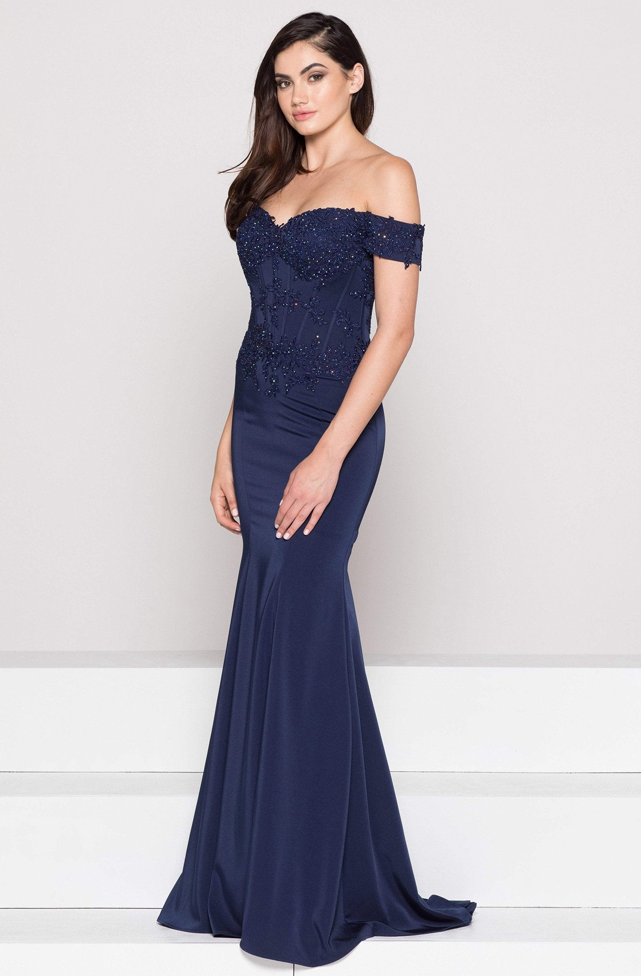 Glow by Colors Off Shoulder Lace Corset Long Gown in Navy